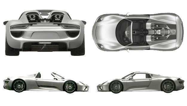 porsche 918 coupe spyder patent drawings have risen. Black Bedroom Furniture Sets. Home Design Ideas